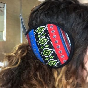 Red And Blue Aztec Boho Ear Muffs